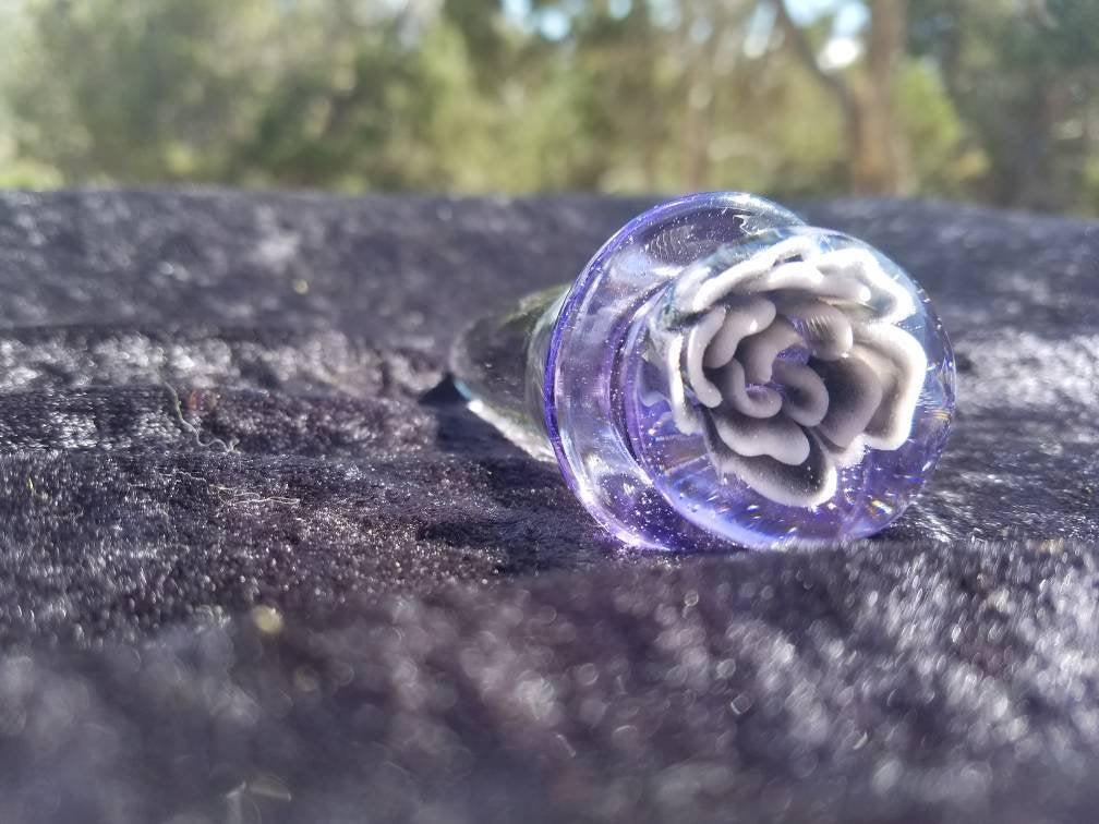 Glass Butt Plug - Tantra Tail- Purple with Purple Fade Flower- Beginner Size To Extra Large Buttplug with Bag by Thriving Lotus - Sex Toys