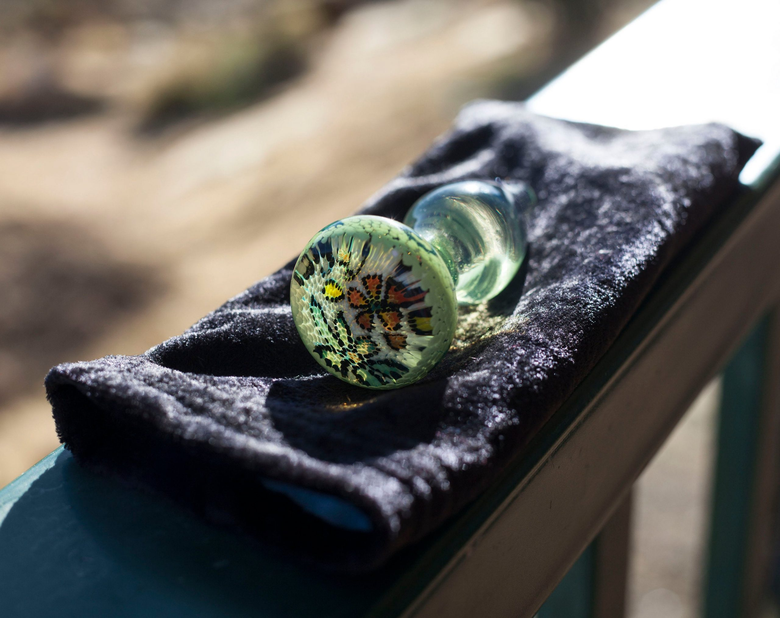 Glass Butt plug Tantra Tail Pointilist implosion artistic large handmade sea Slyme Buttplug One Of a Kind With Velvet Bag
