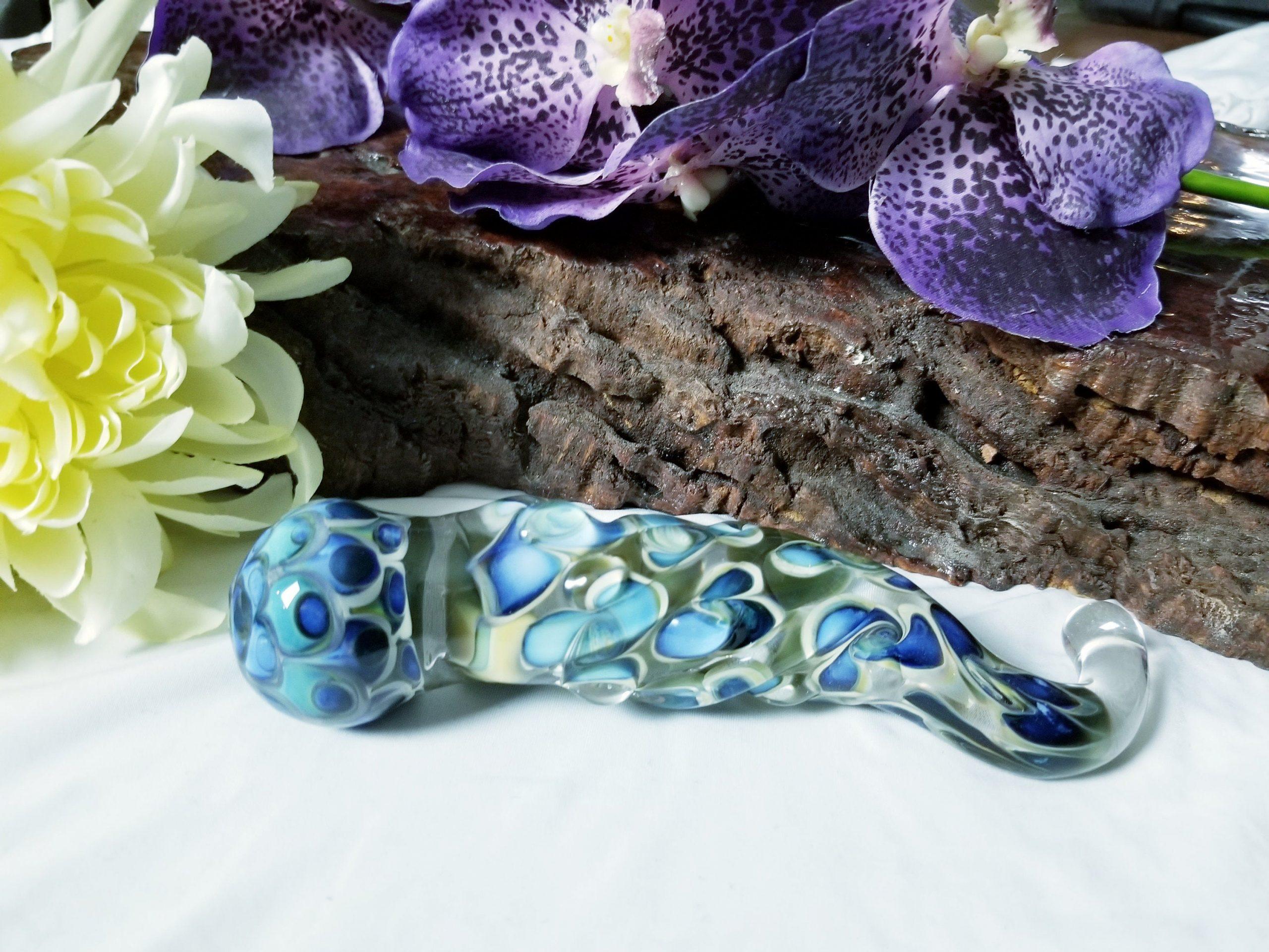 Glass Dildo P Spot G Spot Sex ToyTantra Tools Heavyweight thick large dotstack textured handmade glass dildo